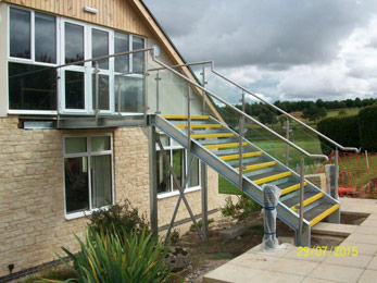 Mezzanine stairs - External Staircase with Stainless Steel Balustrade